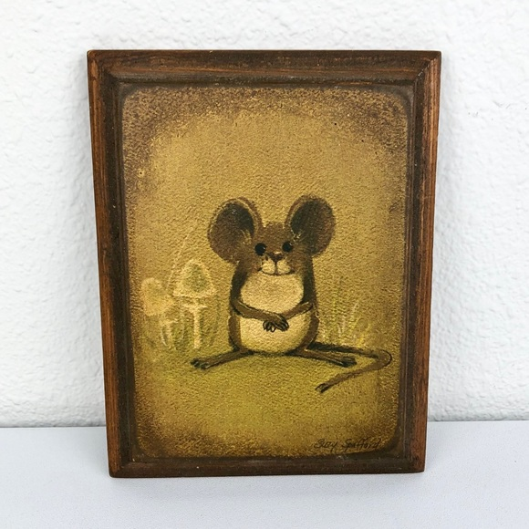 Vintage Other - 🦚 VINTAGE Happy Mouse Mushroom Wood Rectangle Art